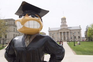 Herky mascot graduation statue on the Pentacrest